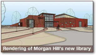 Rendering of Morgan Hill's new library by Noll & Tam Architects